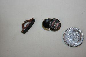 Miniature Dollhouse Kiwi Black Shoe Polish & Polishing Brush 1:12  NR