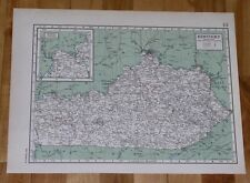 1944 VINTAGE WWII MAP OF KENTUCKY LOUISVILLE FRANKFORT / VERSO KANSAS WICHITA