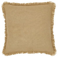 "BURLAP NATURAL Fringed 26"" Euro Sham Primitive Tan/Khaki Cotton VHC BRANDS"