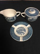 Royal China Blue Currier And Ives Cream And Sugar Set With Ashtray