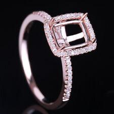 Cushion/Emerald/Radiant 8X6mm Cut Diamonds Halo Semi Mount Ring 14K Rose Gold