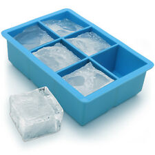 1x Ice Cube Tray 6 Extra Large Square Food Grade Jumbo Ice Cube Moulds Whiskey