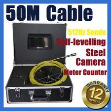 50M Sewer Drain Pipe Self-levelling Camera w 512HZ Locator Sonde Meter Counter