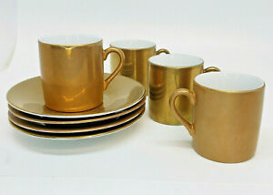 Pottery Barn Demitasse Gold Cups Saucers