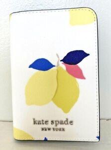 New Kate Spade New York Cameron Lemon Zest Passport Holder Case White multi