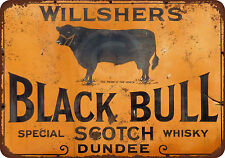 Willshers Black Bull Scotch Whiskey Reproduction Metal Sign 8 x 12