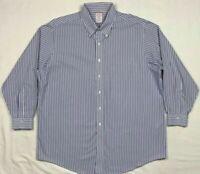 Brooks Brothers Madison Mens Blue Striped L/S Button Down Dress Shirt Sz 18 B5