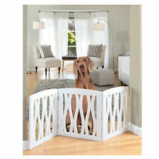 Etna Folding 3 Panel Wood Pet Gate with Wavy Design - White