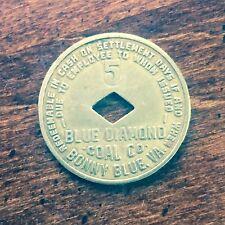 BLUE DIAMOND COAL CO MINE STORE SCRIP $.05 TOKEN 1940 BONNY BLUE VA LEE COUNTY