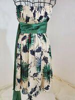 BCBG Max Azria Designer 1960s Inspired Blue Green Floral Print Sash Dress Size 2