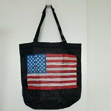 Patriotic Reusable Nylon Zipper Tote Shopping Beach Bag USA Flag Stars &Stripes