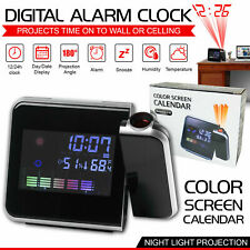 Digital Projection Alarm Clock Weather Thermometer Snooze LED Backlight