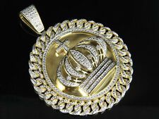Men's Yellow Gold Finish Crown Medallion Real Diamond Pendant Charm .50ct 2.5""