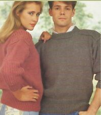 """Chunky Sweater with Patch Shoulders and Sleeves Knitting Pattern 34-50"""" 1008"""