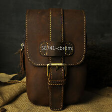 New Mens Genuine Leather cowhide Cell Phone Belt Pouch Hook Fanny Pack Waist Bag