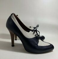 Hobbs Blue And White Leather Derby Style Lace Up Stillettto Heel Shoes UK 3.5
