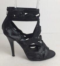 Women's Beyond Vegan Gladiator Tube Zipper Sandals Black Heels Size 7
