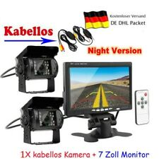 "7"" LCD Auto Monitor Rückfahrkamera Bus LKW + 2 Funk Kabellos Rückseiten Kamera"