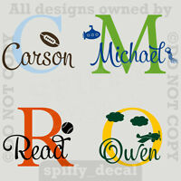 MONOGRAM WITH GRAPHIC Personalized Name Vinyl Wall Decal Sticker Boys Nursery