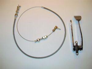 "Street Rat Rod Chrome Spoon Gas Throttle Pedal With Bonus 24"" Braided Cable"