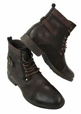 Mens Black Brown Lace Up Army Military Punk Rock Casual Boots Fleece Leather