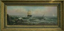 19th c. O/C Nautical Seascape, Ships in Rough Sea, Large Old Painting