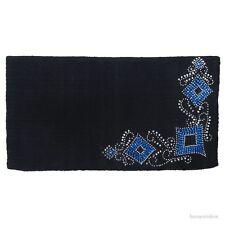 "Western Saddle Blanket - Black Wool - Silver Studs & Blue Crystals - 34""x38"""