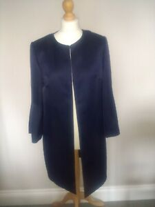 Ladies Marks and Spencer Navy Blue Edge to Edge Coat. 10