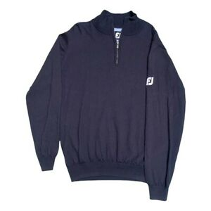 FOOTJOY Mens Zip Neck Top Jumper Golf Clothing Navy WOOL Size Large L