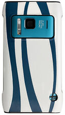 Trexta Brand 100% Real Leather Snap On Case Cover Nokia N8  White and Indigo