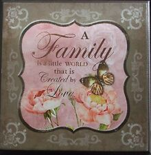Shabby Chic Wooden Plaque- A Family is a little........Pink