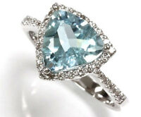 2.5 ct tw Natural Aquamarine & Diamond Solid 14k White Gold Halo Cocktail Ring