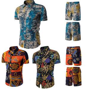 Mens Floral Print Short Sleeve Summer Shorts Set Shirt Top Tracksuit Vacation