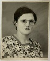 Circular Spectacles Woman In The PHOTOBOOTH, Eyeglasses, Vintage Photo Snapshot