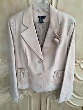 C&E Studio Genuine Suede Leather Gold Metallic Jacket NWOT Size 12