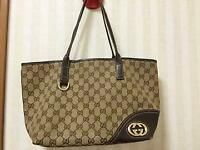 Auth Gucci Shoulder Bag Tote GG Canvas Monogram USED Brown Women Purse G0470
