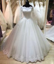 Long Sleeves Square Neck Princess Bridal Gown Custom Plus Size Wedding Dresses