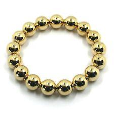 18K YELLOW GOLD BRACELET, SEMIRIGID, ELASTIC, BIG 10 MM SMOOTH BALLS SPHERES