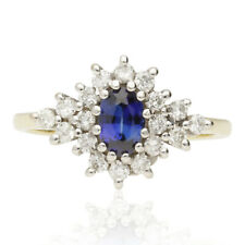 PRE-OWNED 18CT GOLD SAPPHIRE & DIAMOND BOAT SHAPED CLUSTER RING