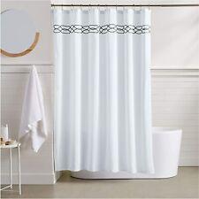 Black White Trellis Striped Embroidered Geometric Modern Fabric Shower Curtain