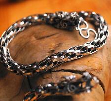 Massiv Dick Gliederkette 53 cm Kordel Ø 8 mm Silberkette Drachen Silber Kette