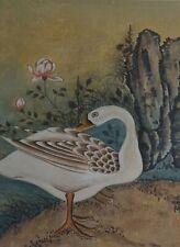 Fine Korean MinHwa Folk Hand Painting White Swan Signed Framed