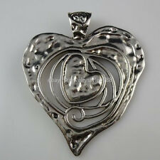 10722 1X  Heart to heart Large Big Heart Small Heart Pendant Vintage Silver Tone