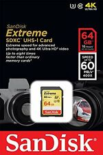 SanDisk 64GB Extreme Class 10 SDXC 60MB/s 400X UHS-I U3 Flash Memory Card SD XC