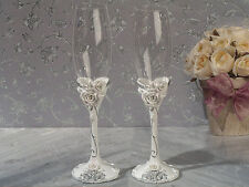 Elegant Rose Toasting Champagne Wedding Flutes Glasses Reception Glass Party