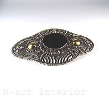 Ancien Broche avec onyx pierre sterling argent/or ○ antique sillver brooch