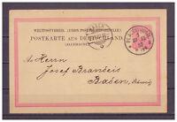 Deutsches Reich Ganzsache P 8 II/02 K 1Plauen nach Baden, Schweiz 1882