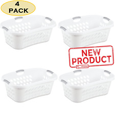 4 PACK Laundry Basket Plastic Home Clothes Storage Washing Bin Durable White NEW