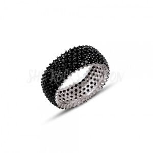 RHODIUM PLATED 925 SILVER 5 ROW PAVE 1mm BLACK CUBIC ZIRCONIA ETERNITY RING