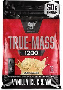 BSN TRUE-MASS Weight Gainer, Muscle Mass Gainer Protein Powder,Vanilla Ice Cream
